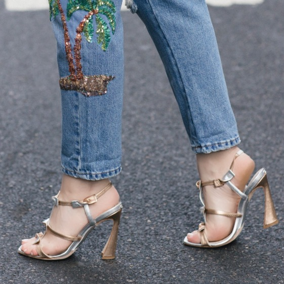 Flamingo Palm Tree Sequin Jean and Metallic Bow Shoes 2