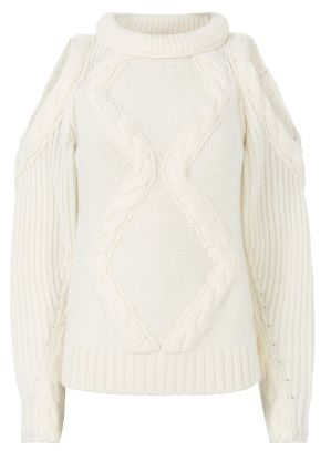 Elora Cold Shoulder Ivory Knit Sweater