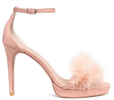 Faux Feather Sandals