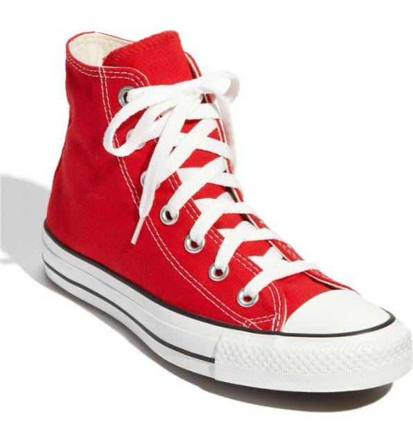 Red Converse Hig Top Sneakers.