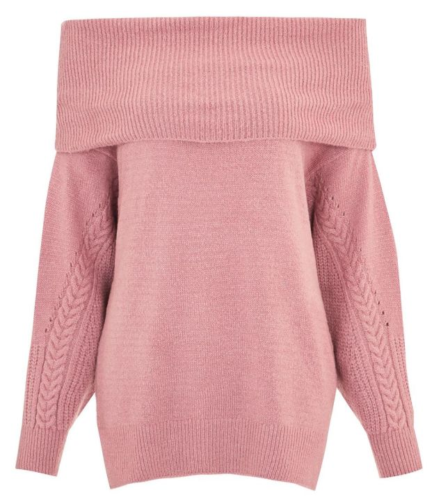 Topshop Cable Sleeve Off The Shoulder Sweater.