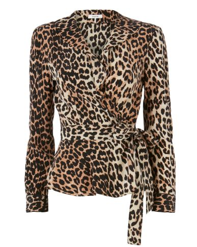 Ganni Fayette Animal Print Wrap Top