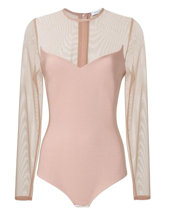 Mugler Pink Mesh Bodysuit